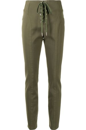 DION LEE Lace-up slim-fit trousers