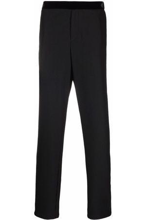 Armani Contrast-trim straight-leg trousers