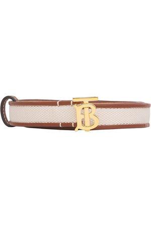 Burberry Monogram-motif leather-trim canvas belt