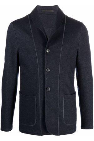 Armani Contrast-trim single-breasted blazer