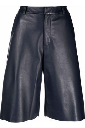 Simonetta High-rise leather bermuda shorts