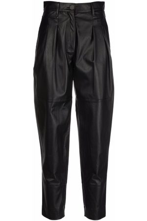 Simonetta Ivy leather tapered trousers