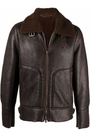 SALVATORE SANTORO Shearling-trim leather jacket