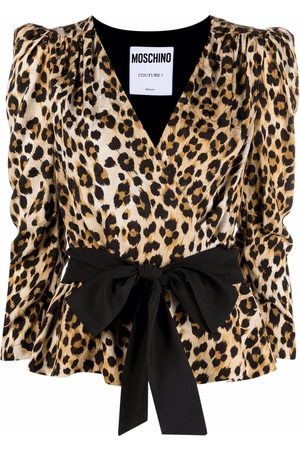 Moschino Wrap-style leopard blouse