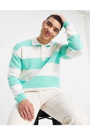 Topman Long sleeve stripe knitted rugby polo in green and ecru