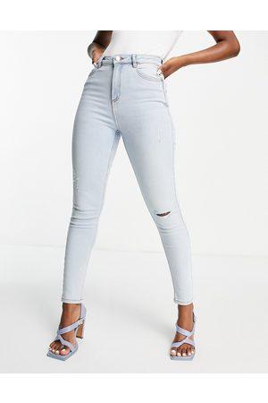 Miss Selfridge Lizzie high waist authentic ripped skinny jean in bleach blue