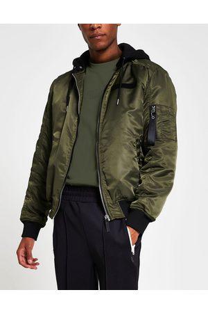 River Island Muži Bombery - MA1 hooded bomber jacket in khaki-Green