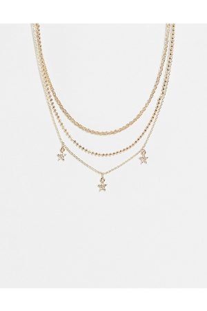 Topshop Crystal star choker necklace in gold