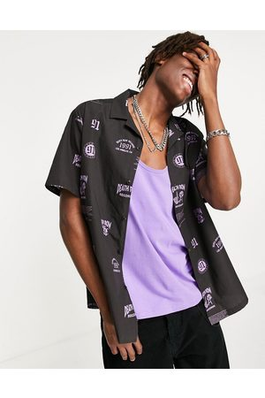 ASOS Death Row Records relaxed revere shirt-Black