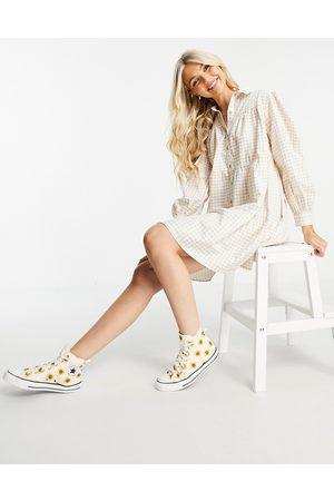 Influence Long sleeve shirt dress in beige gingham-Neutral