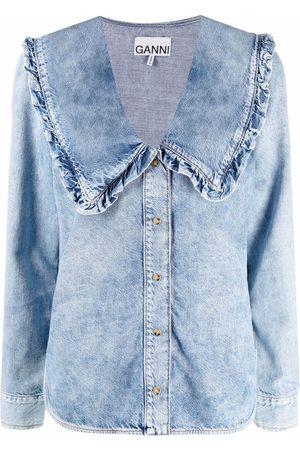 Ganni Spread-collar denim shirt