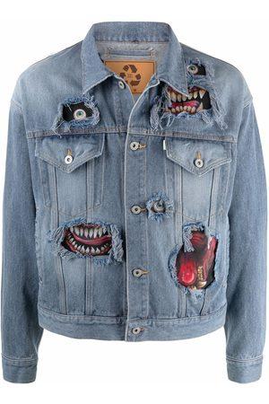 DOUBLET Muži Džínové bundy - Graphic-print button-up denim jacket