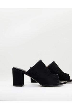 Superdry Edit heeled peep toe sandal in black