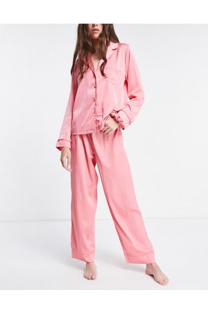ASOS Mix & match satin pyjama trouser with neon piping in pink