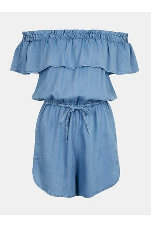 Tally Weijl Ženy Overaly krátké - Modrý krátký overal s odhalenými rameny