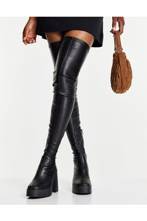 ASOS Koala high-heeled over the knee boots in black