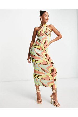 ASOS DESIGN Halter cross front maxi dress in geo print-Multi