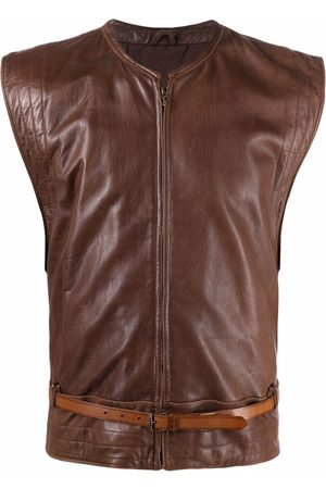 VERSACE 1980s belted leather waistcoat