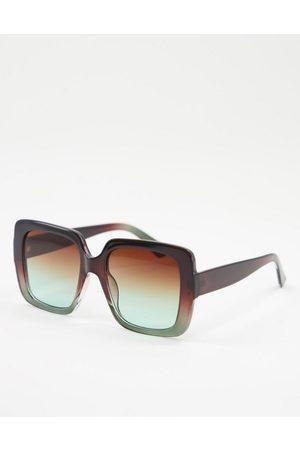 ASOS DESIGN Oversized 70s sunglasses in brown green fade lens
