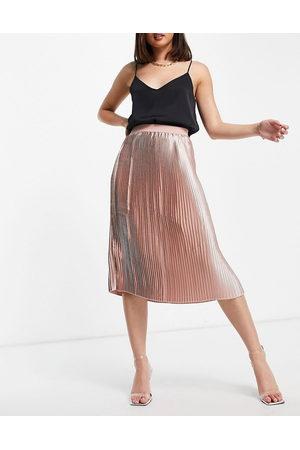 NA-KD Ženy Midi - High shine pleated skirt in pink
