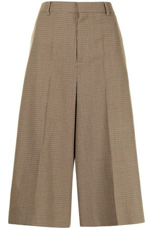 Céline Ženy Culottes - 2019 pre-owned check-print wool culottes