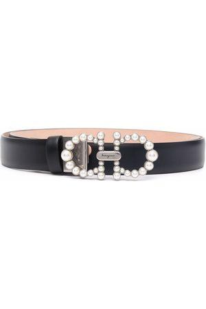 Salvatore Ferragamo Ženy Pásky - Pearl embellished Gancini buckle belt