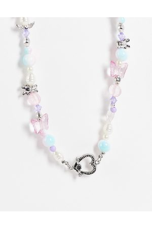 ASOS Ženy Náhrdelníky - Beaded necklace with cute charms in silver tone-Multi