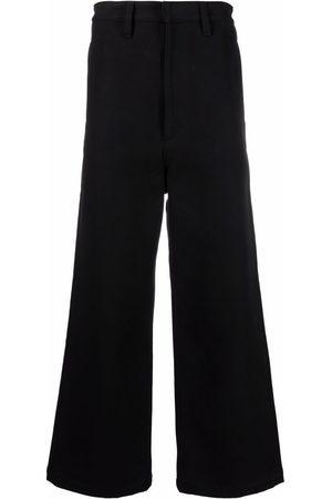 Ami Muži Široké nohavice - Logo patch wide-leg trousers