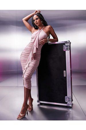 ASOS DESIGN Halter midi dress with ruffle in mink-Brown