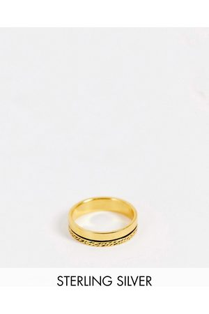 ASOS Muži Prstýnky - Sterling silver band ring with texture in 14k gold plate
