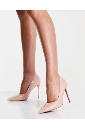 ASOS Penza pointed high heeled court shoes in beige patent-Neutral