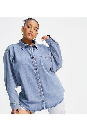 ASOS ASOS DESIGN Curve Denim 'Original' shirt in midwash-Blue