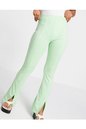 ASOS High waisted ponte skinny trouser with split front in pistachio-Green