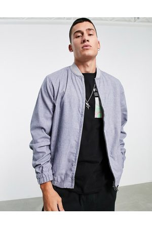 ASOS Co-ord smart cotton bomber jacket in blue