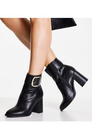 ASOS Wide Fit Repeat block heel buckle boots in black