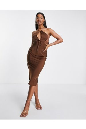 ASOS Halter satin midi dress with keyhole detail in chocolate-Brown