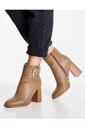 ASOS DESIGN Repeat block heel buckle boots in taupe-Neutral