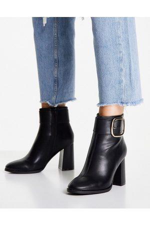 ASOS Ženy Na podpadku - Repeat block heel buckle boots in black