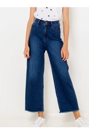 Camaïeu Tmavě modré široké zkrácené džíny