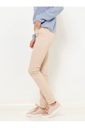 CAMAIEU Béžové slim fit kalhoty