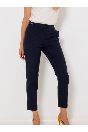 Camaïeu Tmavě modré zkrácené straight fit kalhoty