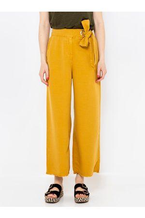 Camaïeu Žluté culottes s příměsí lnu