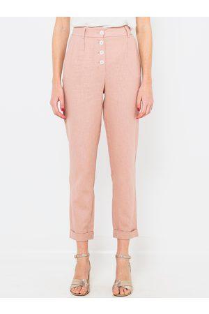 Camaïeu Růžové lněné straight fit kalhoty