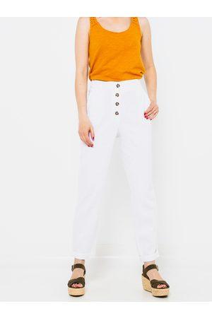 Camaïeu Bílé lněné straight fit kalhoty
