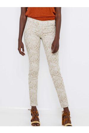 Camaïeu Bílé vzorované skinny fit kalhoty