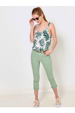 Camaïeu Zelené 3/4 slim fit kalhoty