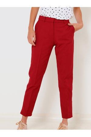 Camaïeu Červené zkrácené straight fit kalhoty