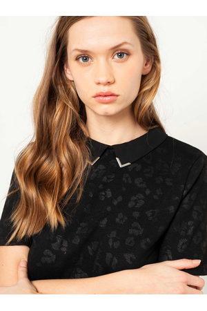 Camaïeu Černé tričko s levhartím vzorem a límečkem