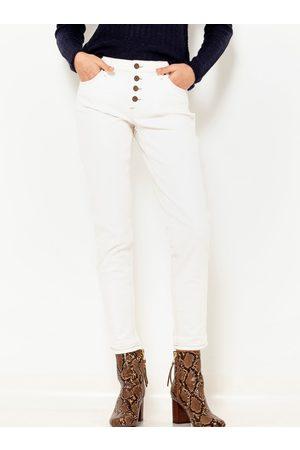 Camaïeu Bílé zkrácené slim fit kalhoty