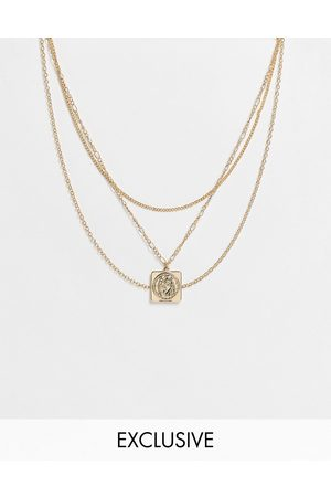 Reclaimed Náhrdelníky - Inspired unisex multirow necklace with st christopher charm in gold